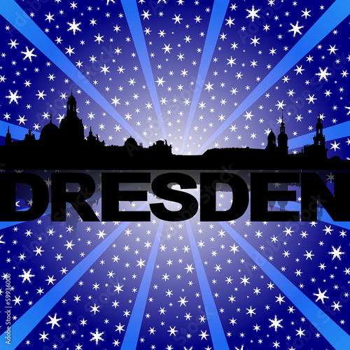 Dresden skyline reflected with snow burst illustration