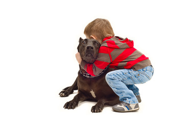 Friendly embraces a child and dog
