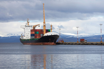 Cargo container ship in the port