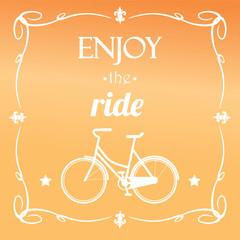 Vintage hipster bicycle, I love my bike, vector illustration