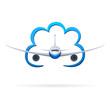 Flugzeug fliegt durch die Wolke