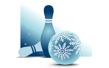 Bowling christmas ball with two skittles on blue background
