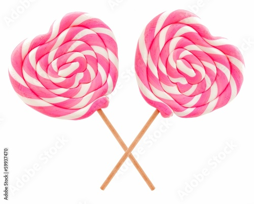 Two Valentines Day lollipops isolated on white