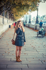 Young Woman Talking on Mobile Phone in London