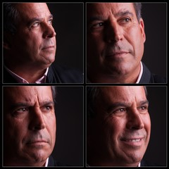 four diferent expressions of middle aged man
