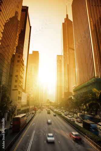 In de dag Hong-Kong Hong Kong Business District in sunset time