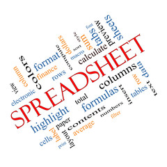Spreadsheet Word Cloud Concept Angled