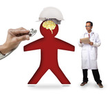 doctor checking human icon wearing safety helmet protect smart b