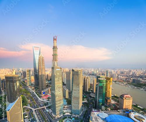 modern shanghai at dusk