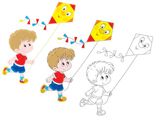 Little boy flying a funny kite