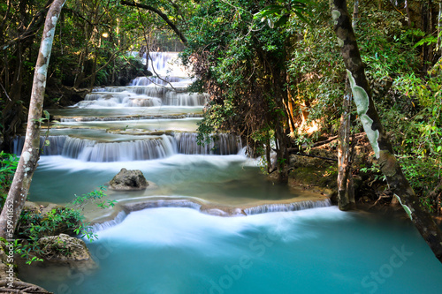 Beautiful deep forest waterfall in Thailand