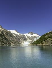 Glacier bay with clear blue sky