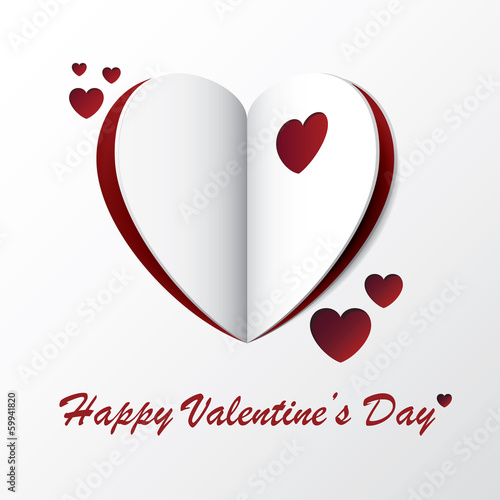 Heart Valentine Greeting Card Design With Origami Paper Style
