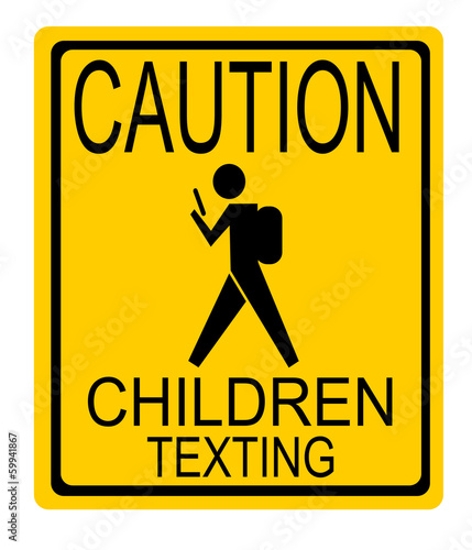 caution children texting sign with child wearing backpack