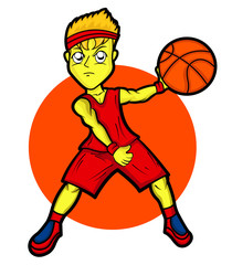 Young Basketball Player Cartoon