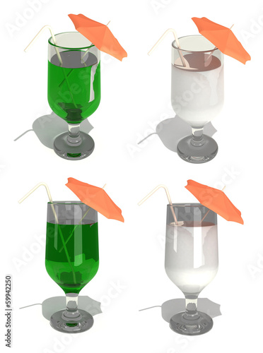 Cocktail with straw and umbrella