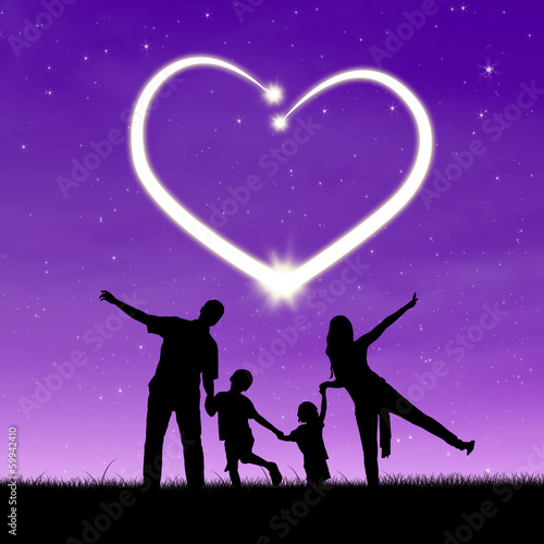 A family under shiny heart