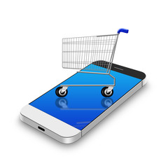 Shopping cart  on smartphone,cell phone illustration