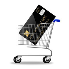 creditcard on shopping cart on white background. illustration