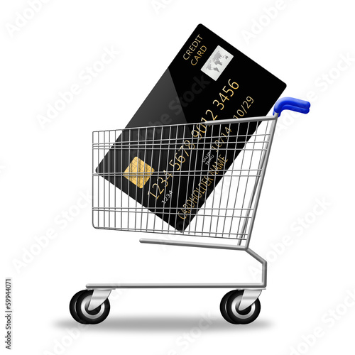 creditcard on shopping cart on white background. illustration
