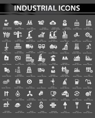 Industrial icon set,Black background version,vector