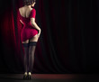 Leinwanddruck Bild - Lovely cabaret performers on stage