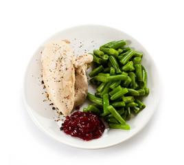 Boiled chicken fillet and vegetables