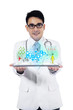 Male doctor working with tablet pc