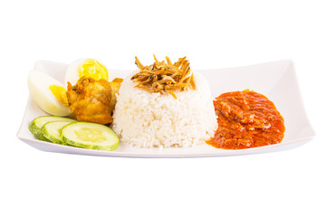 Nasi lemak a traditional and popular Malaysian spicy rice dish.