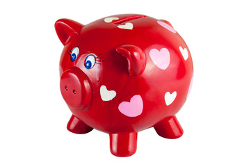 Red piggy bank with hearts