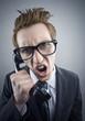 Angry nerd businessman