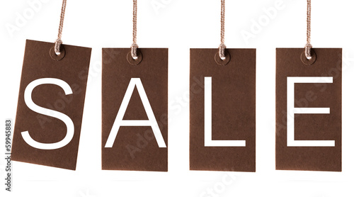 Hanging sale labels on white background