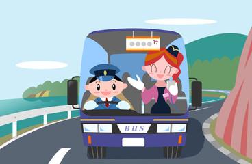 観光バス運転手とバスガイド