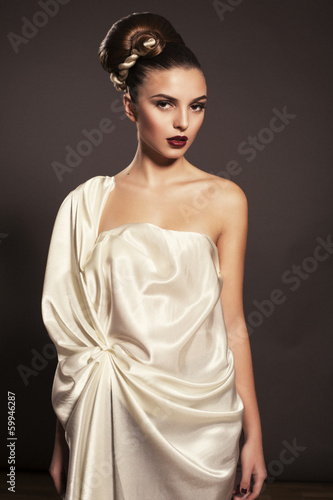 beautiful girl in greek style dress