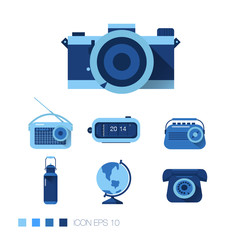 blue retro icons