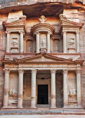 The Treasury Al Khazneh carved into the rock at Petra