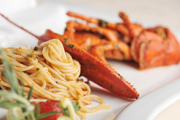 Seafood pasta linguine with fresh lobster