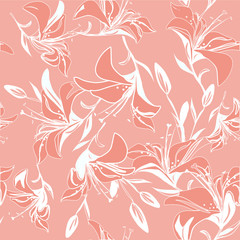 Vintage seamless background of lily flowers