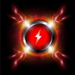 energy button with electric spark