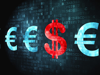 Currency concept: Dollar And Euro on digital background