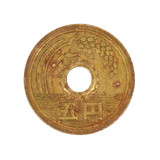 Japanese five yen coin.Isolated.