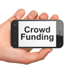 Finance concept: Crowd Funding on smartphone