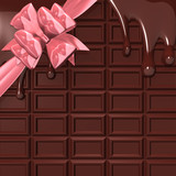 MeltingChocolateWithPinkRibbonForBackground