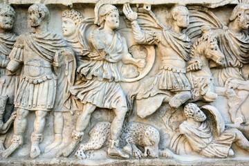 Roman sculpture, hunting scene, sarcophagus, Spoleto, Umbria