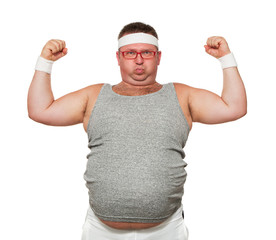 Funny overweight sports man flexing his muscle