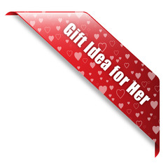 VALENTINE's GIFT IDEA FOR HER banner (ribbon button label)