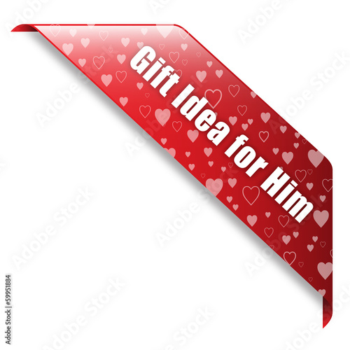 Valentine's GIFT IDEA FOR HIM banner (ribbon button label)
