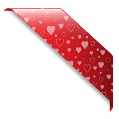 VALENTINE banner (hearts ribbon button icon label stamp)