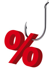 Percent sign on the hook. Isolated. Vector illustration