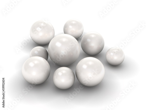 White pearls with clipping path